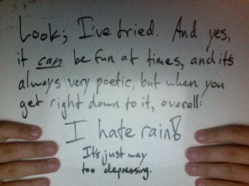 Look; I've tried. And yes, it <i>can</i> be fun at times, and it's always very poetic, but when you get right down to it, overall: I hate rain! It's just way too depressing.